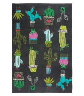 Cactus. Alfombra fina lavable.