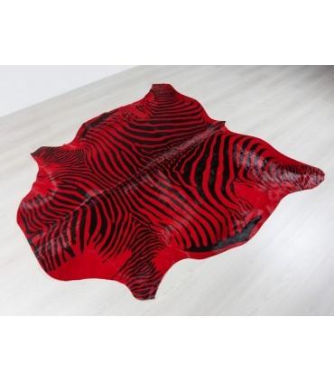 Piel de Cebra Tintada. Color Rojo.
