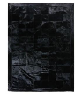 Alfombra Piel Patchwork Negro. Cuadros 20x20 cm. Marco 10 cm.