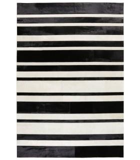 White Stripes. Alfombra de piel con Diseño personalizado por cliente.