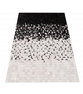Alfombra de Piel Degradado Negro a Blanco Cuadros 5x5 cm.