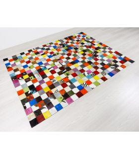 Alfombra de piel a medida Patchwork Multy Colores Cuadros 10x10 cm. Ejemplo para cliente.