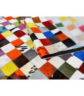 Alfombra de piel a medida Patchwork Multy Colores Cuadros 10x10 cm. Ejemplo para cliente. Detalle.