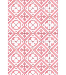 Alfombra de vinilo con dibujo de baldosas hidráulicas D0301. Color Rosa Pastel.