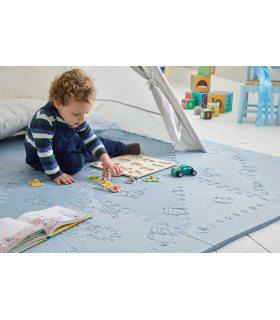 Alfombra Colchoneta para bebés. Color Azul. Medidas 161x161 cm.