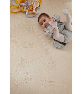 Alfombra acolchada para bebés. Color Beige. Detalle Grabados infantiles.