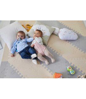 Alfombra infantil protección suelo. Color Beig-Gris. Medidas 161x161 cm.