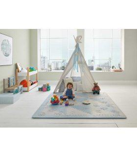 Alfombra infantil protección suelo. Color Gris-Azul. Medidas 161x161 cm.
