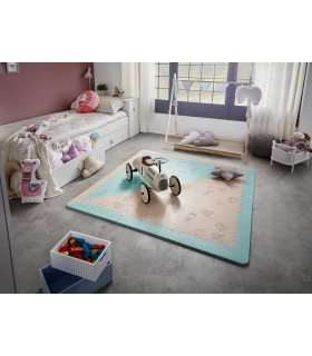 Alfombra infantil protección suelo. Color Mint-Beige. Medidas 161x161 cm.