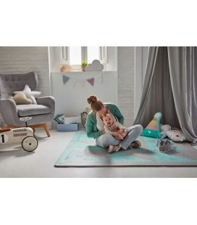 Alfombra infantil protección suelo. Color Mint-Gris. Medidas 161x161 cm.