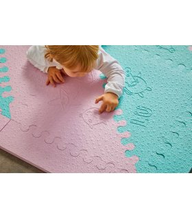 Alfombra infantil protección suelo. Color Mint-Rosa. Medidas 161x161 cm.