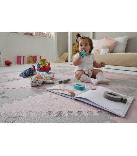 Alfombra infantil protección suelo. Color Rosa-Gris. Medidas 161x161 cm.