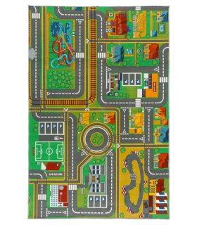Alfombra Infantil Carreteras Ciudad. Medida 100x150 cm.