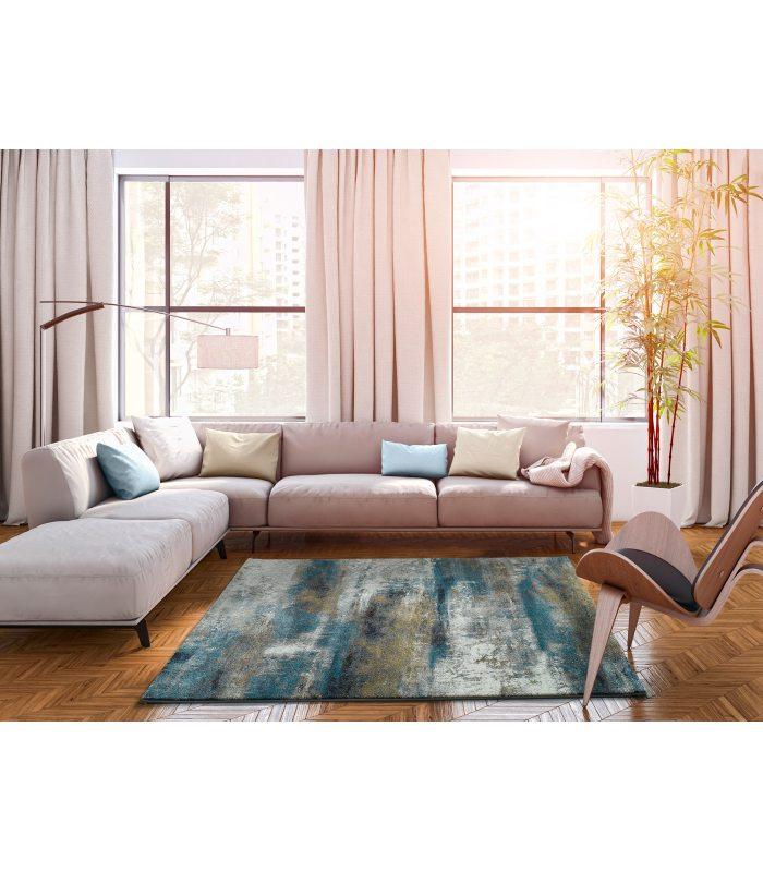 Alfombra con dibujo abstracto en tonos azules y grises de ...