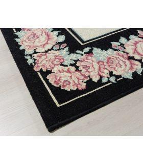 Osuna 21. Alfombra grande de lana diseño flores 240x335 cm. Detalle Greca.