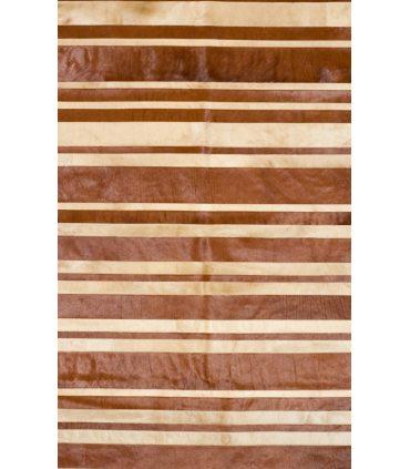 Beige/Brown Stripes. Alfombra de Piel.
