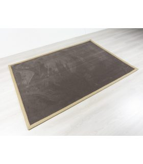 Craster 419. Alfombra lisa de lana en Outlet 160x230 cm. Borde Cenefa de Yute.