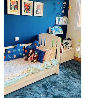 Alfombra de pelo suave modelo Liverpool. Color Azul. Foto de Cliente.