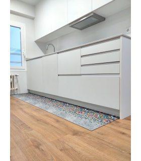 Mosaico. Alfombra para cocina lavable. Foto de cliente.