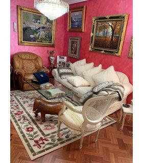 Alfombra Lana 100% con dibujo de flores modelo Córdoba 15. Foto de Cliente.