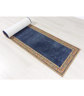 Alfombra pasillera modelo Liverpool. Color Azul. Greca Clásica.