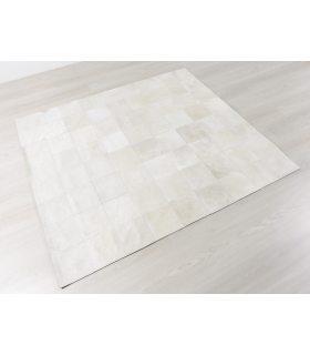Alfombra de piel Blanca Patchwork White 20x20. Sin Cenefa.