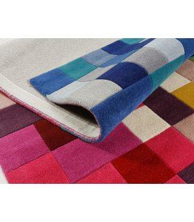 Alfombra de lana 100% Cuadros Colores Illusion Lucea