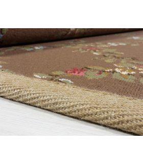 Alexia 3763 - Alfombra de lana a medida con dibujo de flores - Color Marrón.