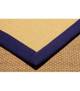 Sisal MA. Color Oro. Cenefa Espiga Azul Marino.