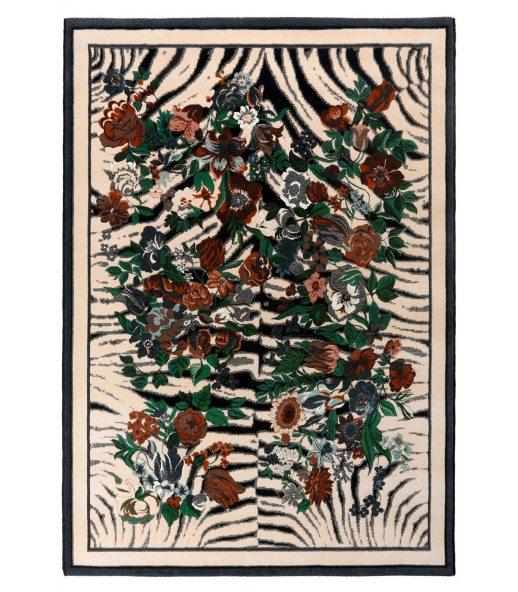 Cebra Flowers. Alfombra de lana 170x240.