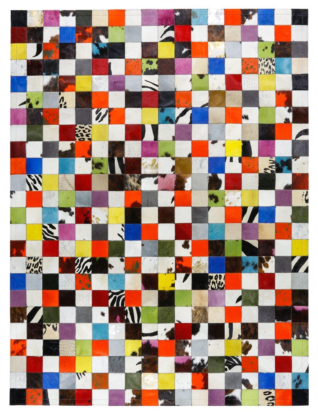 Alfombra Piel Patchwork Multy Colores 10x10 cm.